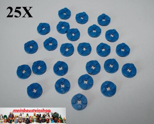 25X Lego® 4032 runde Platten mit Achsloch Round Plate 2X2 Flach Blau Blue