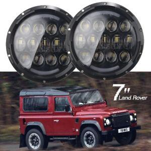 Pair-LED-Headlights-BLACK-CRYSTAL-7-034-lights-Headlamps-for-Land-Rover-Defender