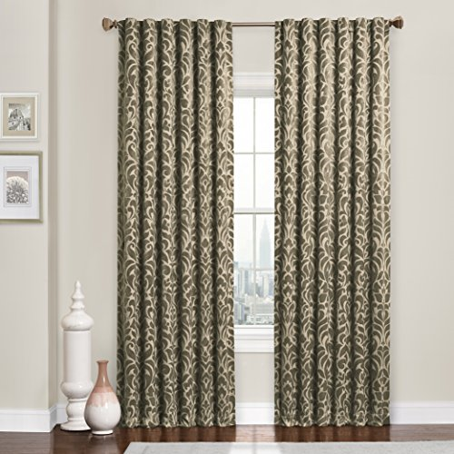 Eclipse Thermaweave Carven Blackout Window Curtain Panel 52 x 63 in - Latte