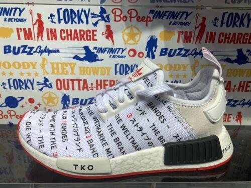 """Adidas NMD R1 /""""Passport Pack Tokyo/"""" White Black GS Men Size 4Y-13 NEW DS EG6362"""