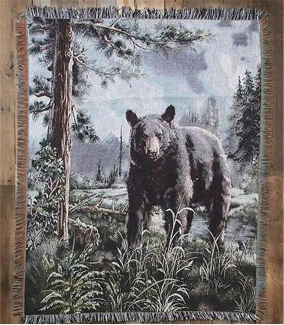 """DETAILED BEAR DEPICTION 50""""x62"""" WILDLIFE WOVEN TAPESTRY THROW AFGHAN BLANKET"""