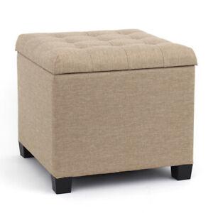 Linen Padded Ottoman Storage Stool Footstool Dressing Table Vanity Chair Box
