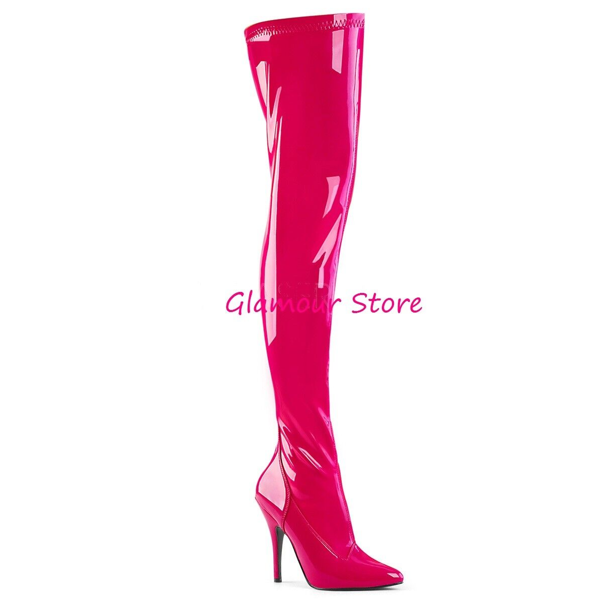 articoli promozionali Sexy STIVALI COSCIA tacco 13 13 13 rosa ACCESO dal 36 al 46 ZIP scarpe GLAMOUR  Sconto del 70%