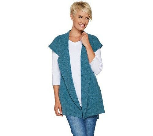 Isaac Mizrahi Live  2-Ply Cashmere Open Open Open Front Hooded Vest-bluee-Small-NEW c307c4