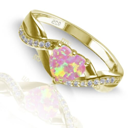 18k Yellow Gold Plated Heart Pink Angel Opal Infinity Celtic Ring
