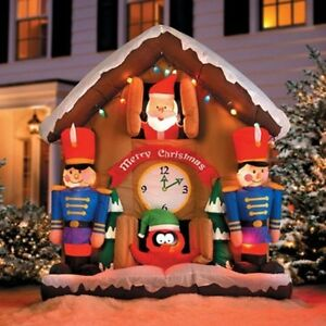 6.5' Animated Santa Clock Airblown Lighted Inflatable ...