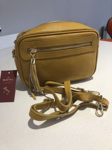 Mustard Genuine Italian Leather Handbag by Bagitali from The Venecia Collection