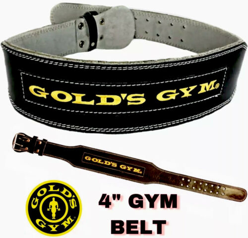 "GOLD GYM BELT WEIGHT LIFTING 4/"" LEATHER BELT LUMBER BACK SUPPORT TRAINING"
