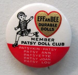 1930's EFFANBEE PATSY DOLL CLUB MEMBER celluloid pinback button