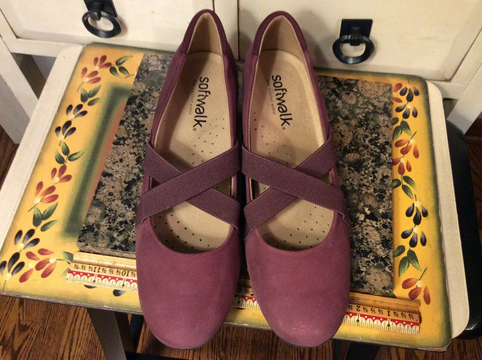 Softwalk Womens 10.5 M purple Suede Leather Elastic Mary Jane Shoes S1762-606