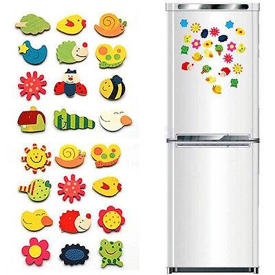 24x Cute Cartoon Animals Wooden Magnet Refrigerator Fridge Sticker Education Toy