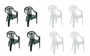 d64346923d0a Plastic Low Back Chair Patio Garden Dining Party Chairs Stacking ...