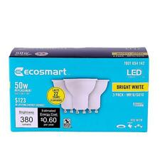 Qty 3 (1x3 Pack) EcoSmart 50W Bright White MR16 GU10 LED Light Bulb