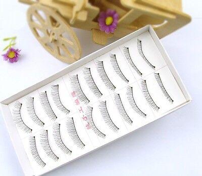 10 Pairs Handmade Fake False Eyelash Natural Look Transparent Stem Cool B