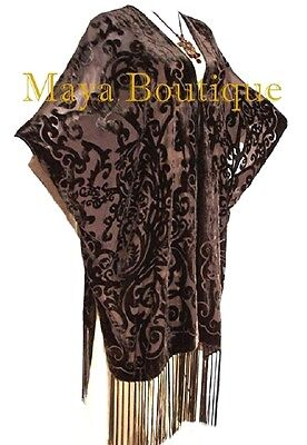 Coco Brown Caftan Kimono Fringe Duster Burnout Velvet Art Nouveau Maya Matazaro