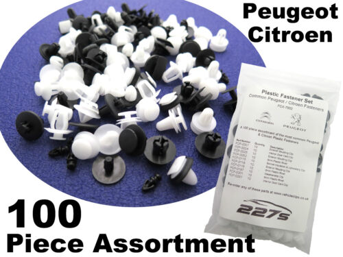 100 Pezzo Plastica Trim Clip Assortimento-Comune di fissaggio Set per CITROEN PEUGEOT