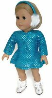 Doll Clothes For 18 Inch American Girl - Turquoise Skating Dress & Earmuffs