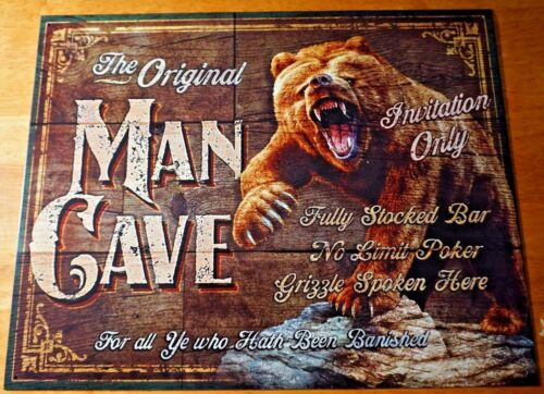 Man Cave Tin Metal Sign Bear Garage Outdoors Cabin Home Decor Picture Gift New