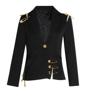 New-Women-039-s-Luxury-Designer-Inpsired-Extra-Large-Clip-Blazer-Coat-Outwear-Jacket