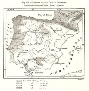 Details about Rainfall of the Iberian Peninsula. Spain Portugal. Sketch map  1885 old