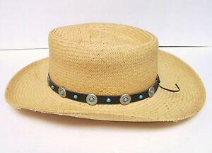 VILLAGE HAT SHOP SAN DIEGO ECUADOR COWBOY STRAW HAT WESTERN W CONCHO ... edea688b95a
