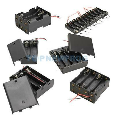 Plastic AA Mobile Battery Clip Case Box Holder w/ Wire Leads DIY Experiment Test