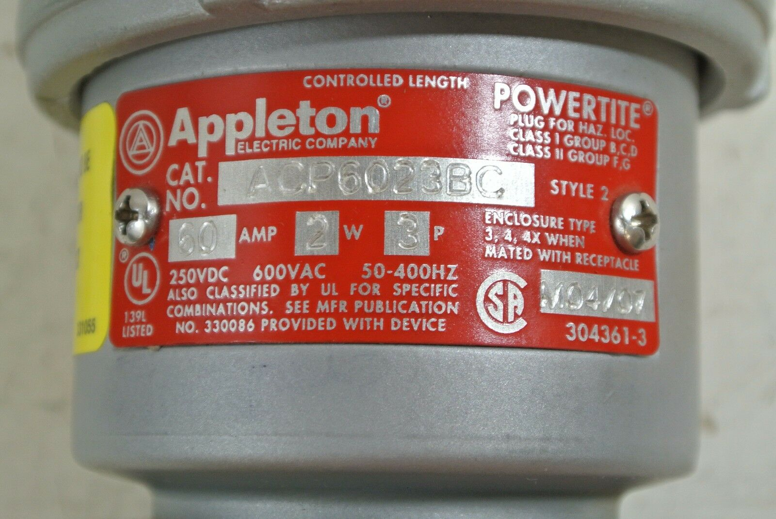 APPLETON ACP6023BC N 60A 2 WIRE 3 POLE NEW