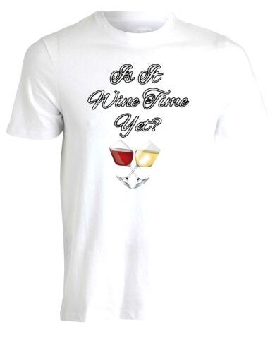 rouge vin blanc original fun homme heures tshirt tee top AE98 Il est temps de vin encore