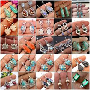 Women-Silver-Plated-Turquoise-Ear-Hook-Stud-Dangle-Drop-Earrings-Fashion-Jewelry