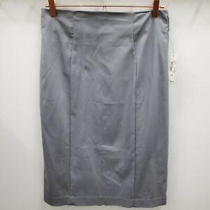 Worthington Skirt Light Gray Pencil Pleated Cotton Blend Size 10