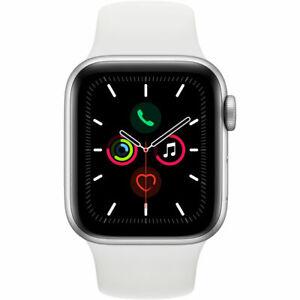 Apple-Watch-Series-5-GPS-Boitier-argente-de-40-mm-avec-bracelet-sportif-blanc