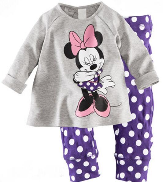Minnie Mouse Cartoon Pajamas Kids Baby Girls Clothing Set Home Sleep Night Wear