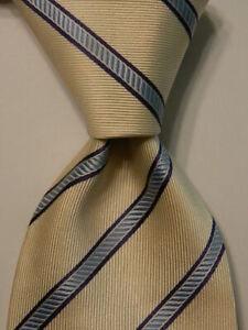 BRIONI-Men-039-s-100-Silk-XL-Necktie-ITALY-Luxury-Designer-STRIPED-Ivory-Blue-EUC