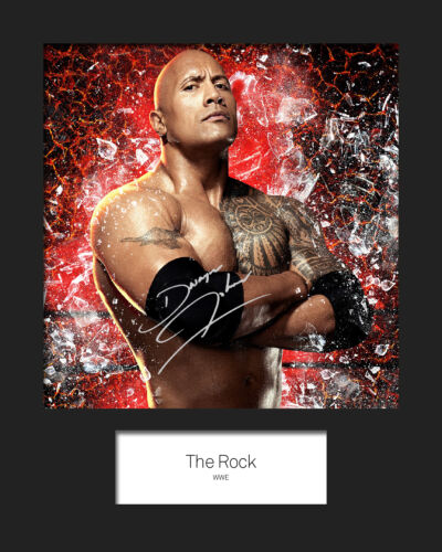 WWE FREE DELIVERY THE ROCK #3 Signed 10x8 Mounted Photo Print