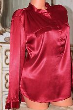 NEXT Shiny texturised  red faux satin classic fit shirt  blouse top size 12