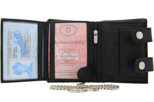 Herren Damen Biker Geldbörse Portemonnaie Echt Leder Hochformat mit 52cm L.Kette