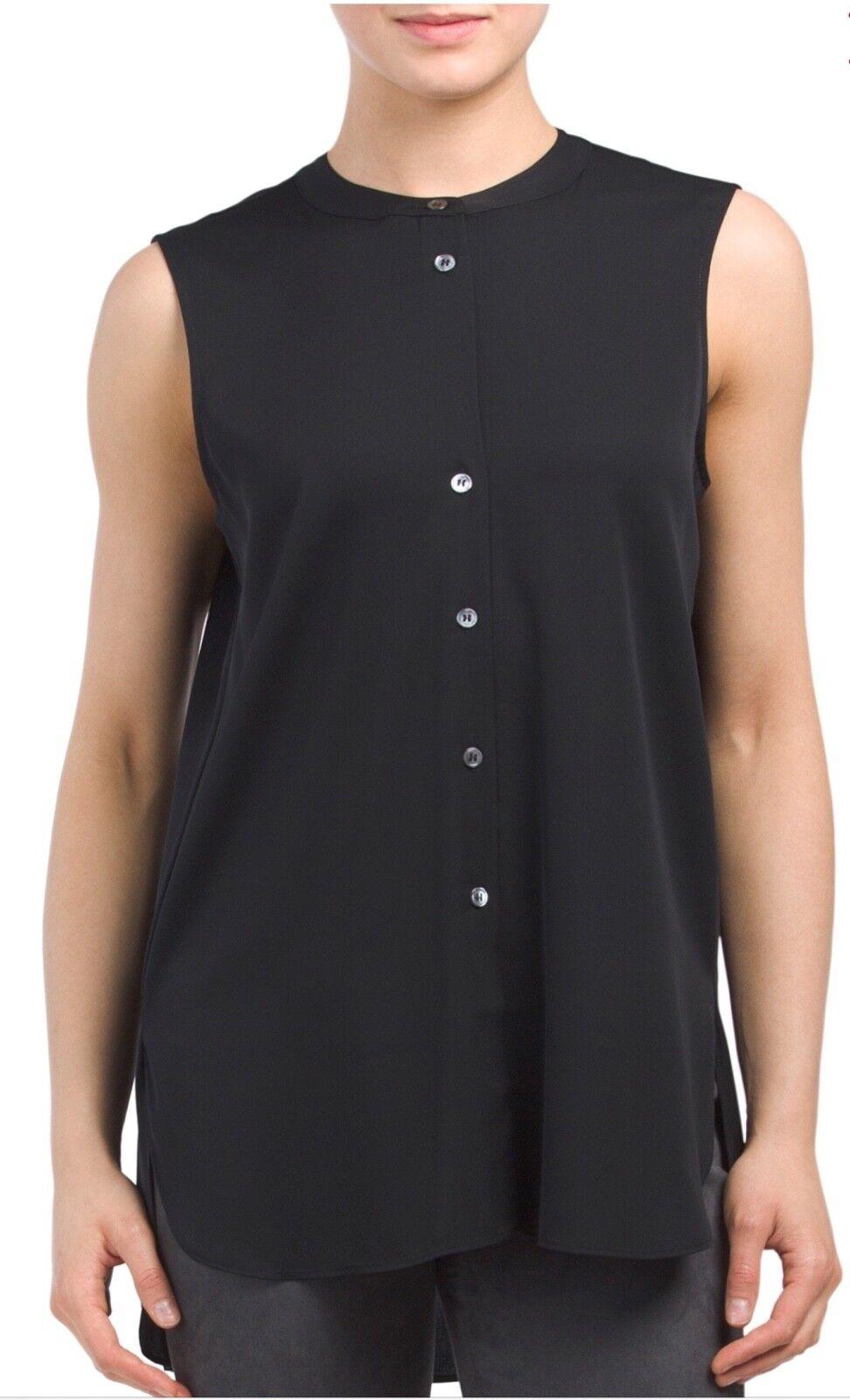 NWT Theory Hinzin R Sleeveless Stretch 100% Silk Tunic Top, schwarz - Größe Small