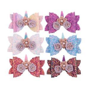 Girls-Hairpin-Bowknot-Barrette-Glitter-Unicorn-Hair-Clips-Kids-Bow-Hairpins-Cute