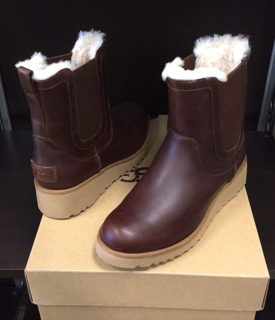 Nouveau Bottes compensées en cuir Ugg Britt classiques, taille 6 - Alezan