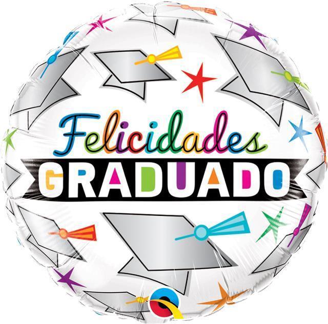 Felicidades Graduado Gorra y Estrellas Qualatex 18 Inch Globo De Aluminio