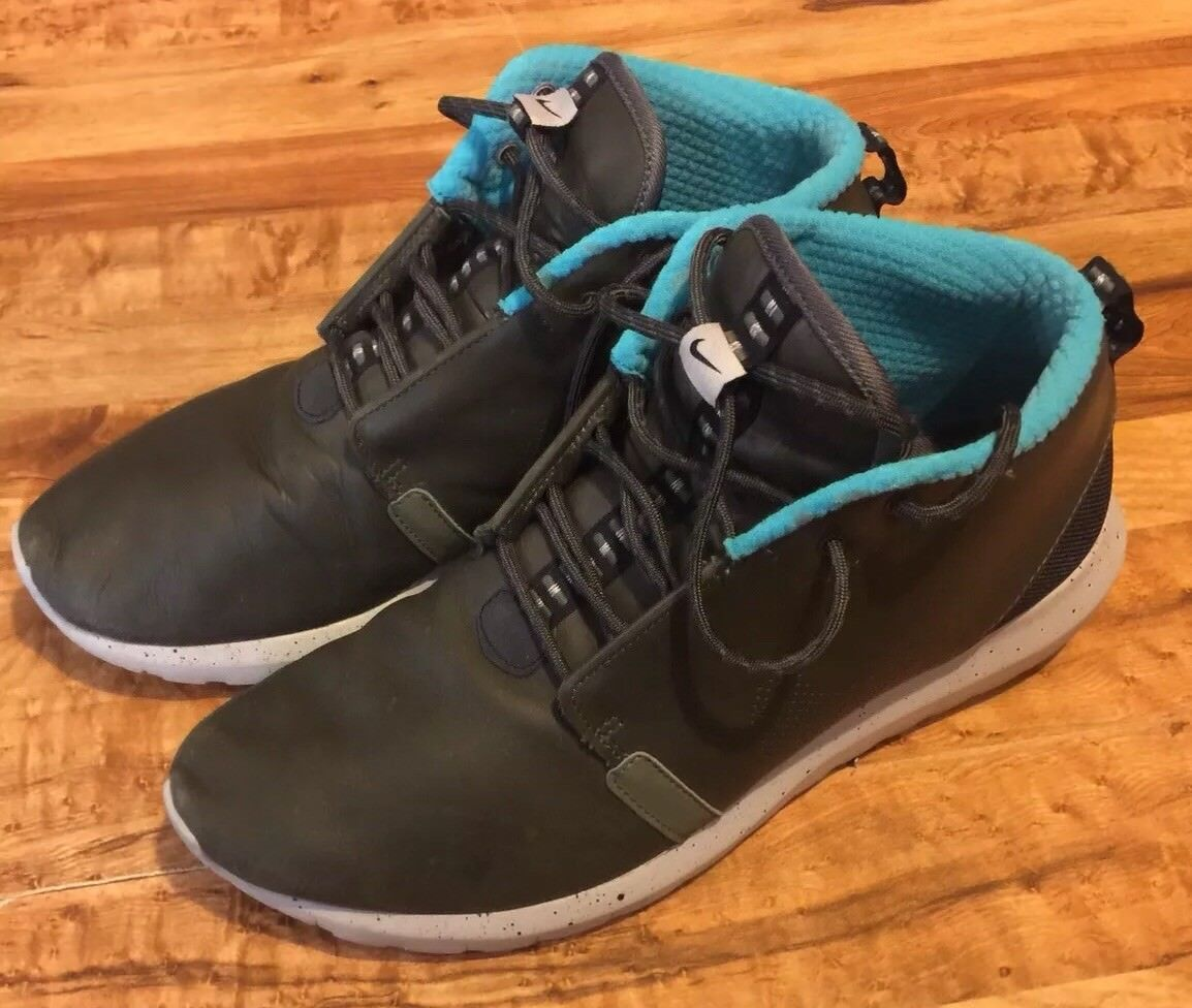 MENS NIKE ROSHE RUN NM SNEAKERBOOT PRM SIZE 11.5 KHAKI/JADE W/CEMENT SOLES•USED best-selling model of the brand