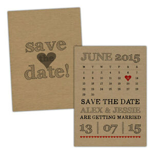 Personalised-kraft-Save-the-Date-cards-RETRO-CALENDAR-FREE-ENVELOPES-amp-DRAFT