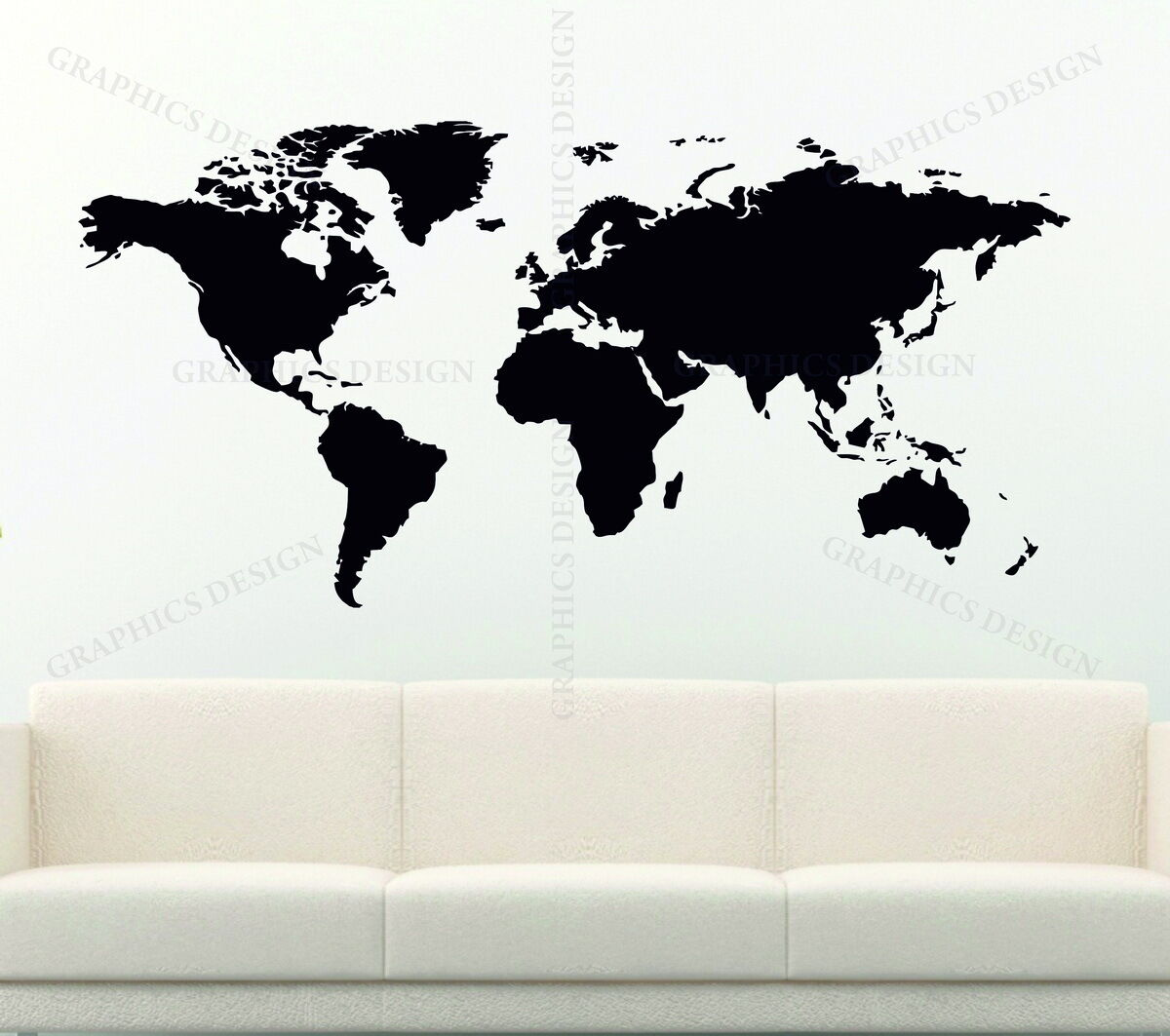 World map large choice of colour decorative vinyl wall sticker earth world map gumiabroncs Image collections