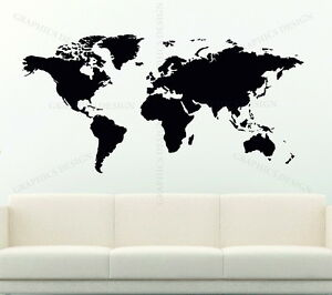 World map large choice of colour decorative vinyl wall sticker image is loading world map large choice of colour decorative vinyl gumiabroncs Images