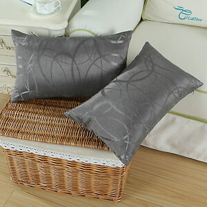 Set-of-2-Gray-Cushion-Cover-Bolster-Shell-Reversible-Striped-Circle-Sofa-30x50cm