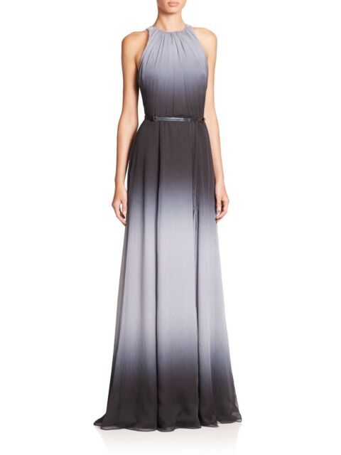 Halston Heritage Belted Black Ombre Gown Full Length Dress Size 10 ...