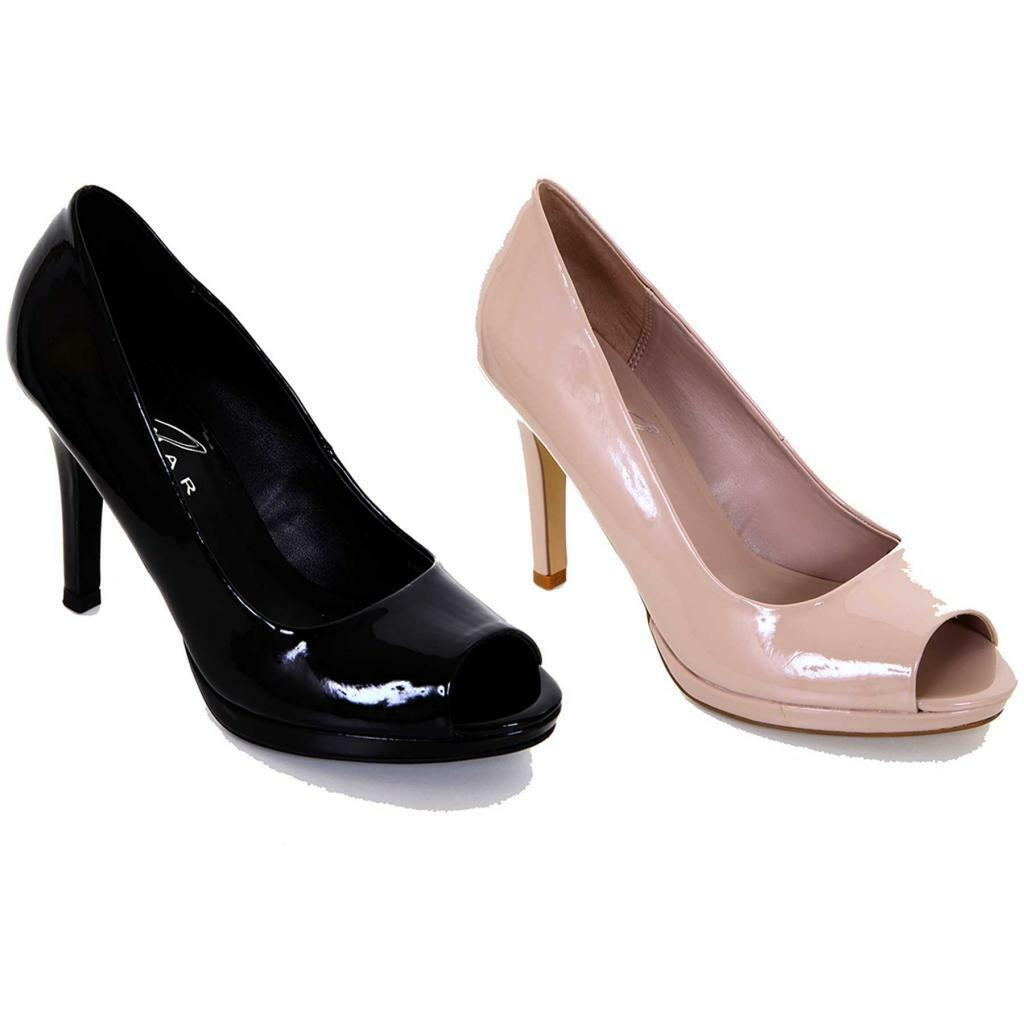 Para Mujer Negro Nude Patente Peep Casual Toe De Señoras Smart Casual Peep Tribunal Tacones Zapatos a32b80