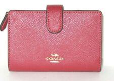 Coach Womens Corner Zip Wristlet Leather Medium Snap Washed Red F11484 Imn4n