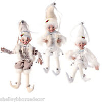 Christmas Elves In White Set Of 3 Ap 3402443 Raz Artic Palace 16 Inch