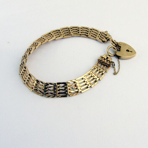 Vintage Chain Bracelet Heart Locket 9 Ct Gold